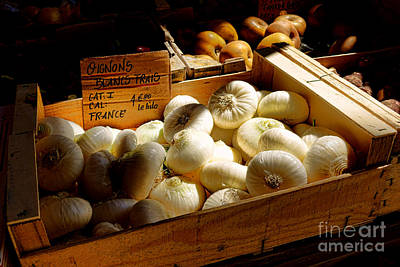 Wood Crate Photograph - Onions Blancs Frais by Olivier Le Queinec