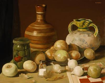 Painting - Onions Everywhere And A Jar Of Pickled Peppers by Robert Holden