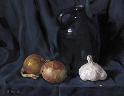 Painting - Onions, Garlic And Black Jug by Robert Holden