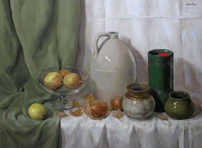 Painting - Onions,, Pottery And Green Drape by Robert Holden