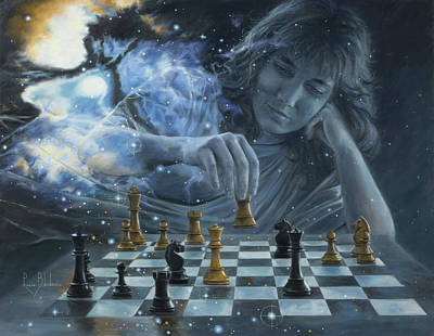 Metaphysical Painting - Only A Game by Lucie Bilodeau