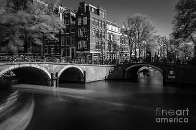 Amsterdam Digital Art - Only Bikes And Bridges In Bw, Amsterdam by Sinisa CIGLENECKI