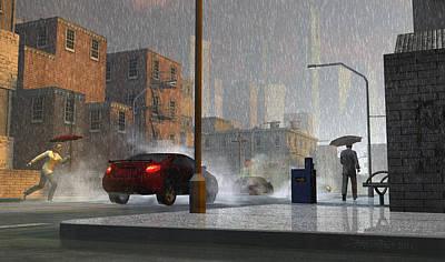 Urban Art Digital Art - Only When It Rains by Dieter Carlton
