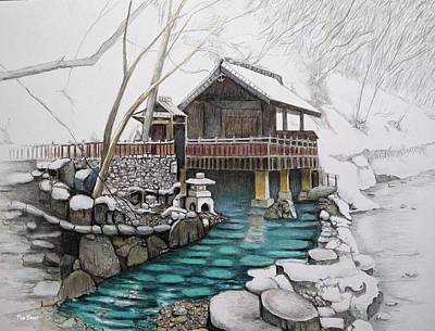 Drawing - Onsen by Tim Ernst