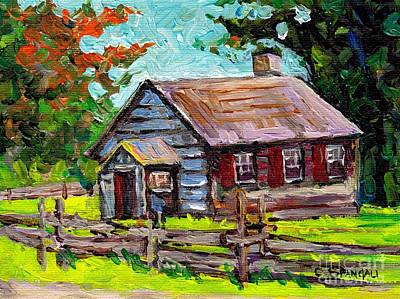 Painting - Ontario Cozy Cabin Rustic Barn Scene Canadian Landscape Painting Log Fence C Spandau Canadian Artist by Carole Spandau