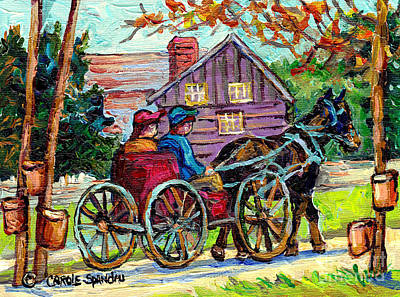 Painting - Ontario Landscape Painting Maple Tree Sugar Shack Horse And Buggy Country Scene C Spandau Fine Art by Carole Spandau