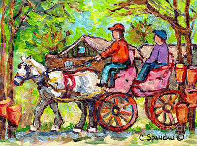 Painting - Ontario Sugar Shack Canadian Landscape Painting Wagon Ride White Horse Spring Countryscene C Spandau by Carole Spandau
