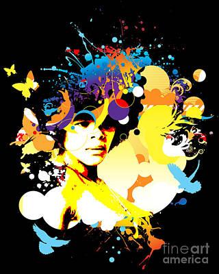 Nostalgic Seduction Digital Art - Onxy Doves - Bespattered by Chris Andruskiewicz