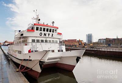 Onyx Passenger Ferry Ship Moored Print by Arletta Cwalina