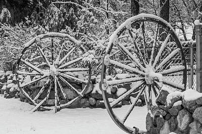Photograph - Oo Wagon Wheels Black And White by Scott Campbell
