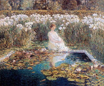 Woman In Water Painting - Lilies by Childe Hassam
