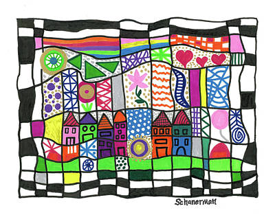 Uplifting Drawing - Oodles Of Doodles by Susan Schanerman