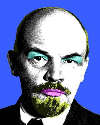Lenin Digital Art - Ooh Mr Lenin - Blue by Gary Hogben