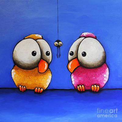 Birds On A Wire Painting - Oops by Lucia Stewart
