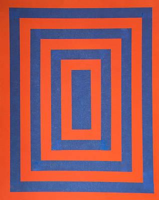 Op Art Mixed Media - Op 2 Blue And Orange by James Pinkerton