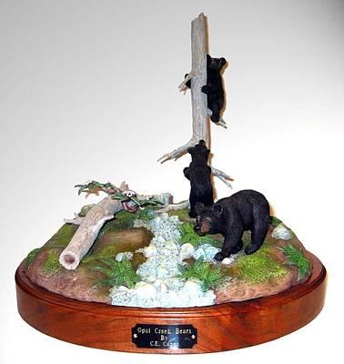 Sculpture - Opal Creek Bears by Carl Capps