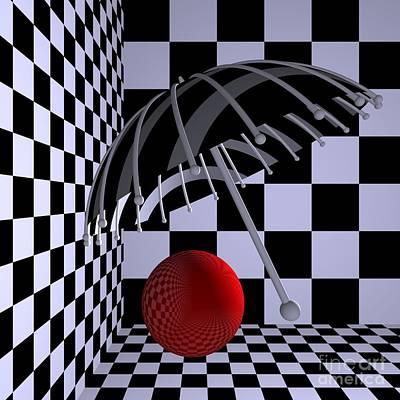 Red Digital Art - Opart Umbrella by Issabild -