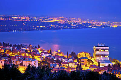 Photograph - Opatija And Kvarner Bay Evening Panoramic Coastline View by Brch Photography