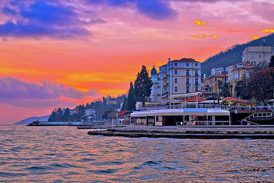 Photograph - Opatija Coastline At Burning Sundown View by Brch Photography