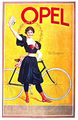Royalty-Free and Rights-Managed Images - Opel Cycles - Bicycle - Vintage Advertising Poster by Studio Grafiikka