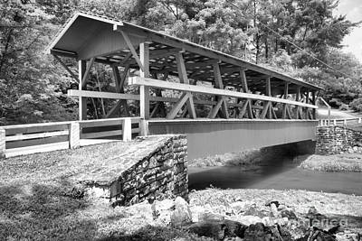 Photograph - Open Air Colvin Covered Bridge Black And White by Adam Jewell