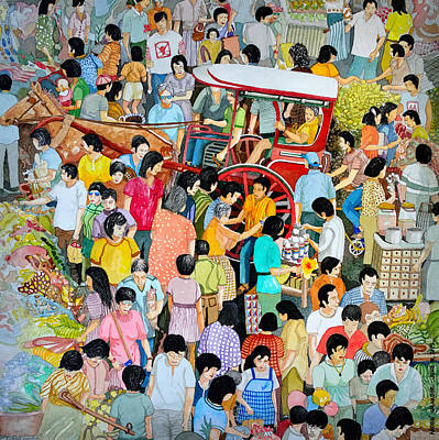 Painting - Open Air Street Market Metro Manila by Andre Salvador