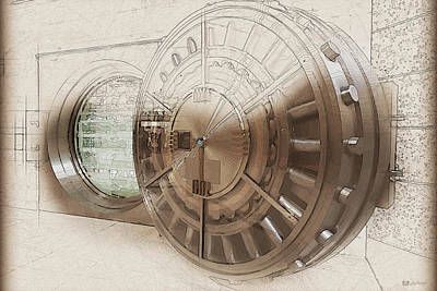 Digital Art - Open Bank Vault Door And Lock - Seoul by Serge Averbukh