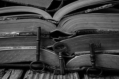Knothole Photograph - Open Books With Keys by Garry Gay