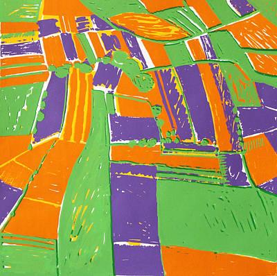 Urban Scenes Mixed Media - Open Field Orange by Toni Silber-Delerive