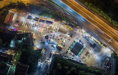 Photograph - Open Food Stalls Aerial View, Bangkok by Pradeep Raja PRINTS