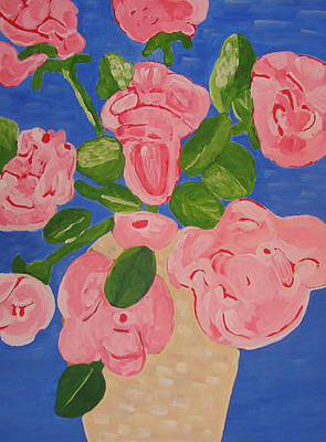 Abstract Painting - Open Roses I by Olivia  M Dickerson