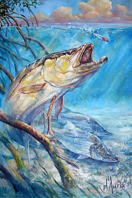 Trout Painting - Open Season by Tom Dauria