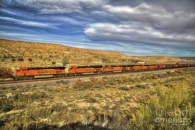 Photograph - Follow Me B N S F Train And Cars New Mexico Train Art by Reid Callaway