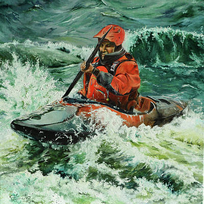 Painting - Open Water Kayaking by Steve James