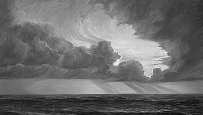 Space Clouds Painting - Opening Sky - Black And White by Lucie Bilodeau