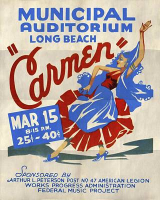 Opera Carmen In Long Beach - Vintage Poster Folded Art Print by Vintage Advertising Posters