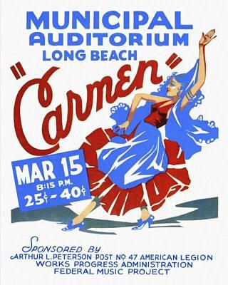Opera Carmen In Long Beach - Vintage Poster Restored Art Print by Vintage Advertising Posters