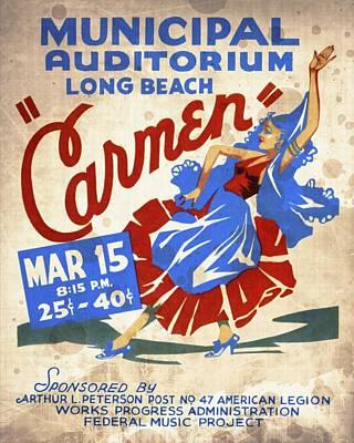 Opera Carmen In Long Beach - Vintage Poster Vintagelized Art Print by Vintage Advertising Posters