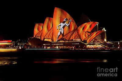 Photograph - Opera House Aboriginal Vivid Sydney 2016 By Kaye Menner by Kaye Menner