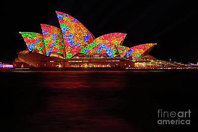 Photograph - Opera House Floral Vivid Sydney 2016 By Kaye Menner by Kaye Menner