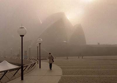 Opera House In The Fog Art Print by Barry Culling