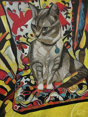 Painting - Ophelia, Portrait Of Fern's Cat by Ron Richard Baviello