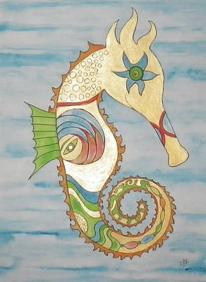 Painting - Ophelia The Seahorse by Erika Swartzkopf