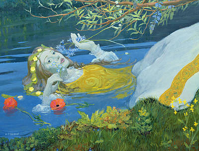Floating Girl Painting - Ophelia by William Ireland