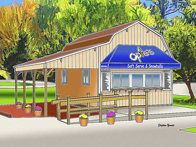 Children Ice Cream Digital Art - Opie's Snowball Stand by Stephen Younts