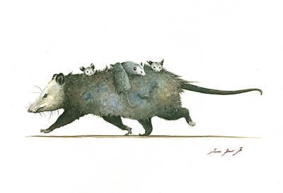 Poster Painting - Opossum Family by Juan Bosco
