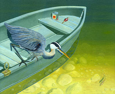 Blue Heron Painting - Opportunity-the Great Blue Heron by Gary Giacomelli