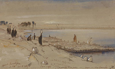 Drawing - Opposite Beni Hassan by Edward Lear
