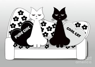 Digital Art - Opposites Attract - Black And White Cats On The Sofa by Beverley Brown