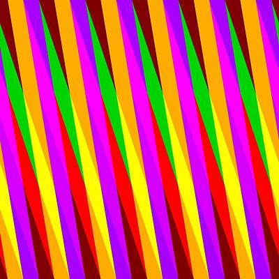 Optic Illusion With Red Yellow Purple Green Stripes Art Print